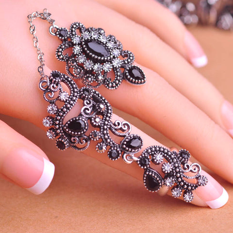 New Design Turkish Ring Full Crystal Black Acrylic Vintage Rings For Women