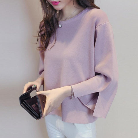 Round Neck Knitted Sweater Women
