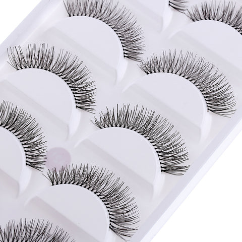 5 Pairs/set Natural Black Long Sparse Cross Eye Lashes