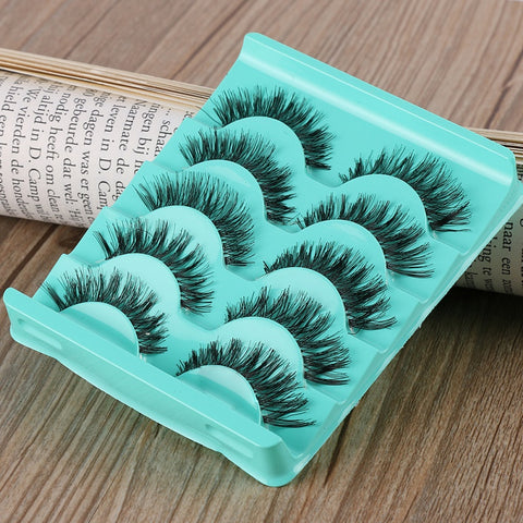 5 Pairs/set Stunning Makeup Handmade Messy Cross Natural False Eyelashes Eye Lashes Extension Tools Charming New Fashion Best