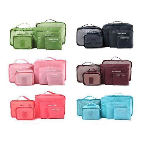 6pcs Travel Storage Bags Shoes Clothes Toiletry Organizer Luggage Pouch Kits