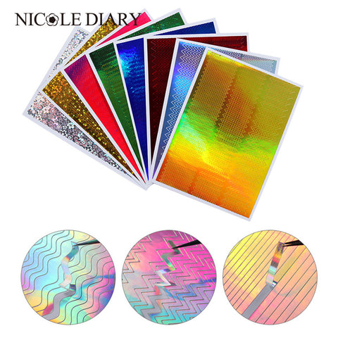 8 Sheets Adhesive Holo 3D Nail Stickers Kit  Laser Ultra Wave Line Nail Art Decals