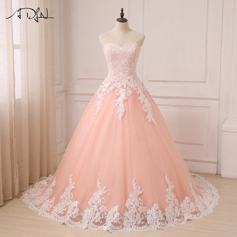 Coral Sweetheart Sleeveless Tulle Wedding Gowns Ball Gown