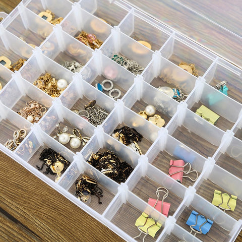 Adjustable 24 Compartment Transparent Plastic Storage Box