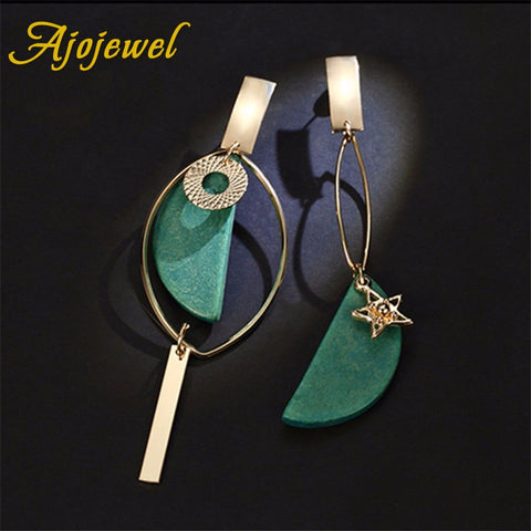 Asymmetrical Green Wooden Earrings Geometric Statement Earrings