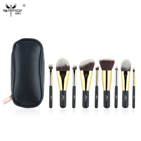 9 Piece Synthetic Makeup Brushes with black Color Bag Traveling