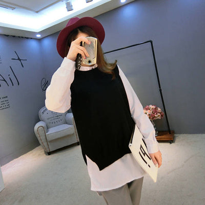 Spring New Cashmere Knit Vest back Split hedging loose