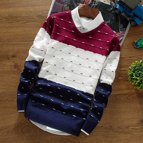 Sweaters Knitting - Casual Striped for men