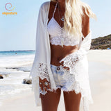 Beach Cover Up Summer Swimsuit Lace Hollow Out Crochet Beach Bikini