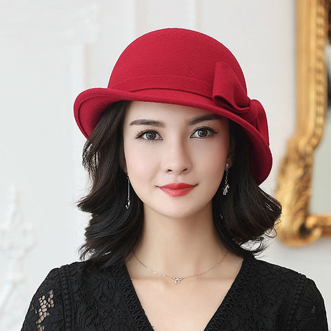 Winter 100% Wool Formal Up-turn Brim Bowknot Woolen Fedora Hat 59b9b6d0508d