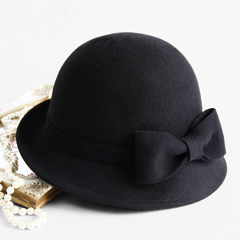 Winter 100% Wool Formal Up-turn Brim Bowknot Woolen Fedora Hat – I ... 43d8660e3f8