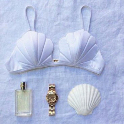 New Bandage Mermaid Shell Bikini Top bandeau Swimwear Push Up
