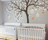 Large Tree With Birds Leaves Wall Stickers For Kids Room