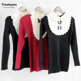 Black Woman Sweater Pullovers Long Sleeve Lace