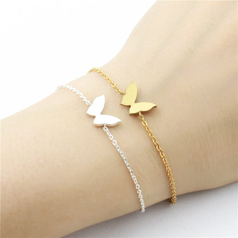 Butterfly Charm Bracelets For Women Gold Filled Animal Jewelry Stainless Steel