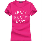 CRAZY CAT LADY Print Women T-shirt tops