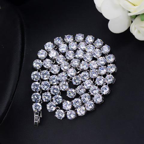 Luxury Sparkling 0.6 CM Big Carat Cubic Zirconia Crystal Round Choker  Necklaces For Women