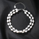 Charms Bracelet Freshwater White Rice Pearl with 925 Sterling Silver Beads Female Chain