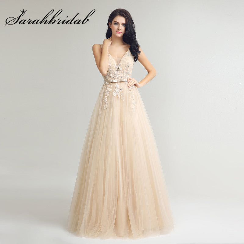 a627bcc6ff98 Champagne Long Evening Dresses Sexy V Neck Backless Lace – I sell ...