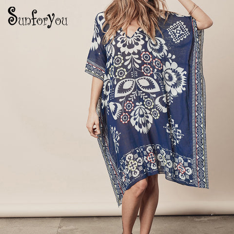 Chiffon Beach Cover up Tunics for Beach Print Bikini Cover up