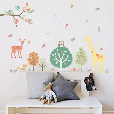 Colorful Forest Animals Giraffe Tree wall stickers