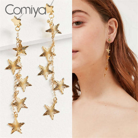 Multi Layers Links Women Accessories Dangle Earrings Gold Color Zinc Alloy Stars