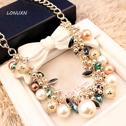 Created luxury colorful girls simulated pearl statement necklace female