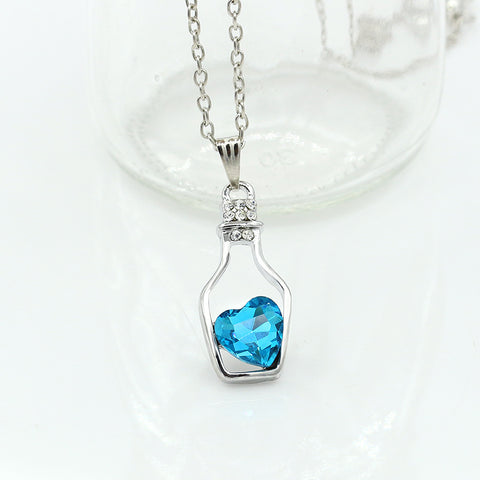 Style Love Drift Bottles Pendant Necklace Blue Heart Crystal Pendant Necklace