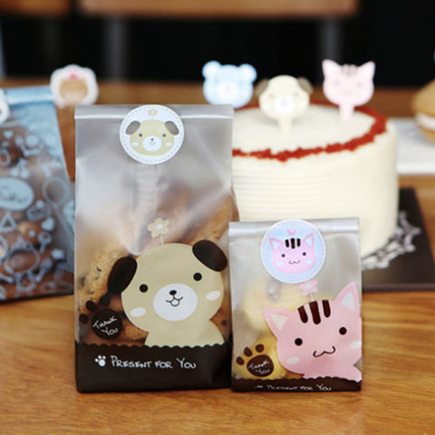 Cute 50pcs/set Lovely Cat Dog Print Gifts Bags Candy biscuits Cake package plastic bags