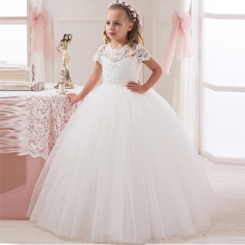 661822ca2 Cute Short Sleeve White Ivory Lace First Communion Dresses For Girls ...