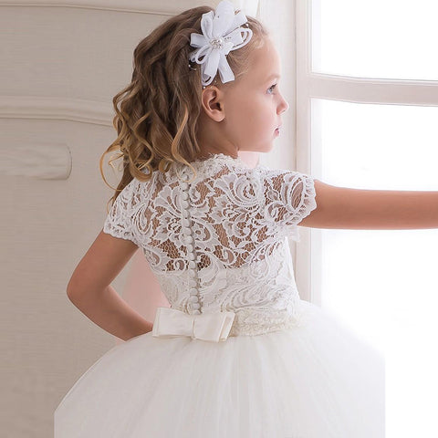 21c3ee51f14 Cute Short Sleeve White Ivory Lace First Communion Dresses For Girls ...