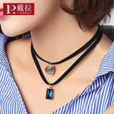 Fashion Pendant Rhinestones Crystals Multilayer Leather Choker Necklaces Accessories