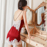 Women Silk Spaghetti Straps Nightgown Sexy Lace Trim Backless Nightdress Spring Summer Mini Dress Sleepwear Home Clothes
