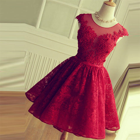 Dark Red Short Prom Dress