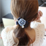 Denim flower girls elastic hair rubber bands ties accessories
