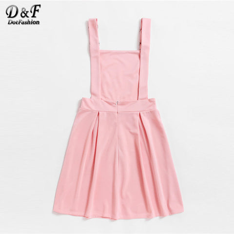 e9b225ee8639 New Pink Short Pinafore Woman Clothing Straps Sleeveless Solid Dress ...