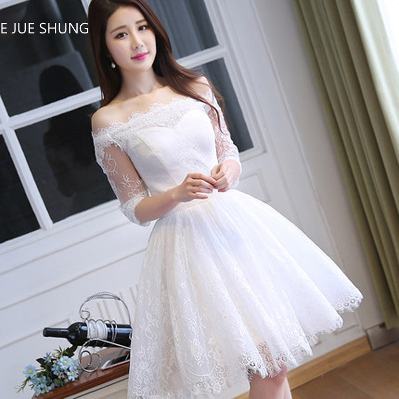 009dc624bbe0f Little White Dress Vintage Lace Half Sleeves Short Wedding Dresses