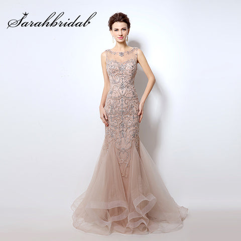 Elegant Blush Evening Dresses Mermaid Long Beading Crystals