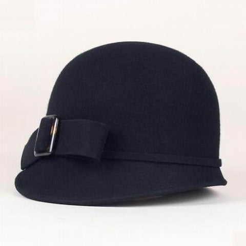 c806f2322a6 England Style Ladies Wool Hats Black Cloche Hat Cap – I sell what I love