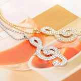 Chic rhinestone rhythm music note long chain necklace