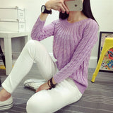Fashion Casual  9 Colours Women Sweater Pullovers Long Sleeve O-neck Twist Knitted  Sweater