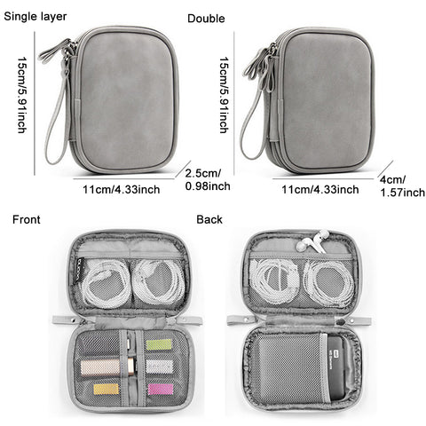 PU leather mobile hard disk digital storage bag Travel Cable Organizer