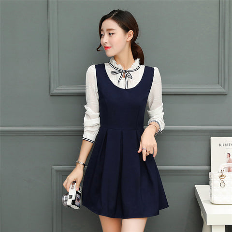Mini Dresses Long Sleeve Patchwork Bow knot Lace-up Plus ...