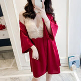 Female Twinset Robe Set Summer Sleepwear Lace Nightgown Sexy Satin