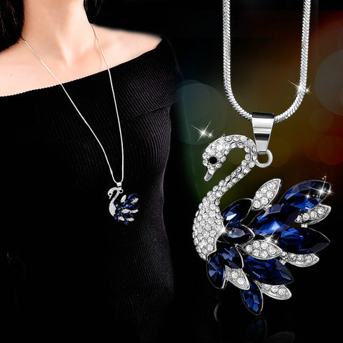 Luxury blue crystal Little Swan necklace simple chain long paragraph wild accessories