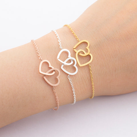 "Friendship Bracelets Silver Double-Heart ""Together Forever"" Bangle Bracelet Jewelry"