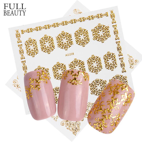 Full Beauty 1pcs3D Charms Gold Nail Sticker DIY Metallic Flower Mixed Carving Designs