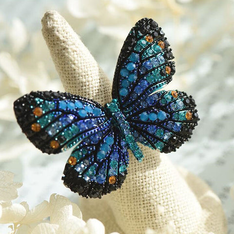 Gorgeous Butterfly Rhinestones Colorful Big Opening Rings