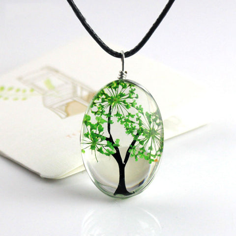 New Arrival 6 Colors Tree Of Life Oval Shape Pendant Necklaces Handmade Jewelry