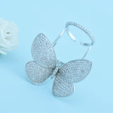 New Design Clear Butterfly Open Women Ring Micro Cubic Zircon Pave Gold